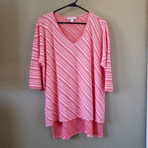Dana Buchman Peachy Pink Stripe Top